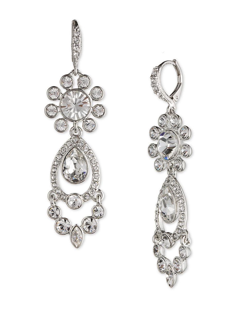Givenchy Silver-tone Crystal Chandelier Earrings in