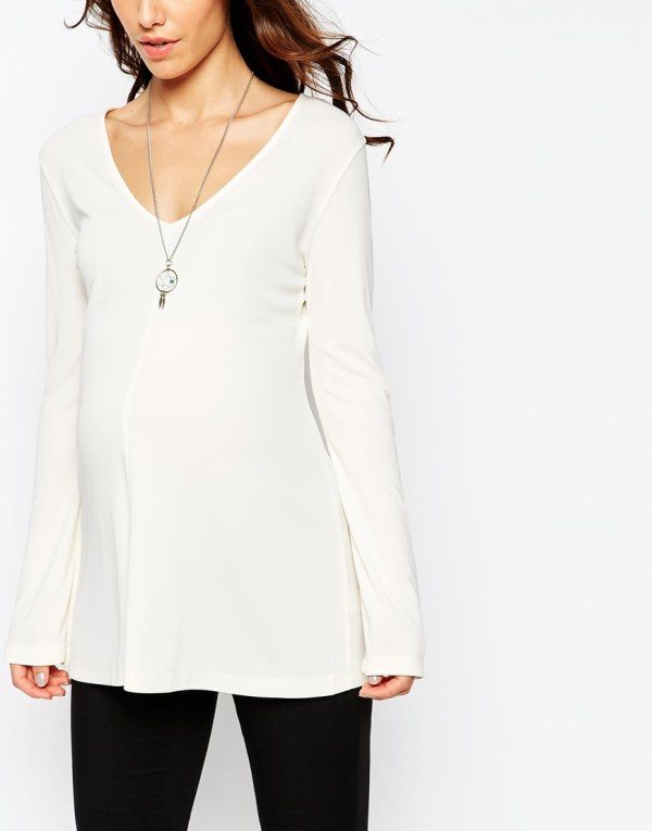Asos Maternity Clean Tunic With Neck And Long Sleeves In