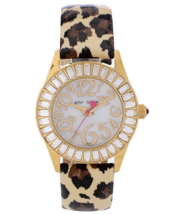 Betsey Johnson Women' Leopard-print Patent Leather Strap