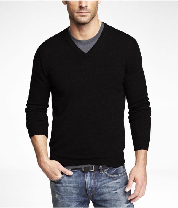 Express Merino Wool Vneck Sweater In Black Men Lyst