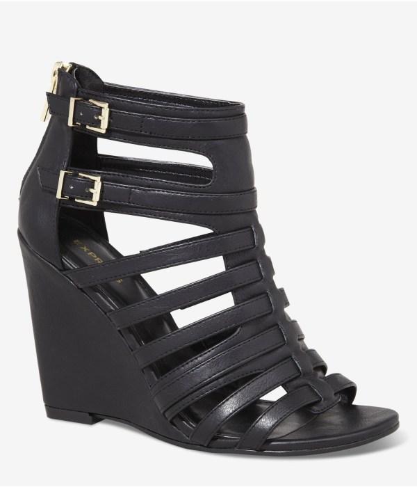 Lyst - Express Gladiator Vamp Wedge Sandal In Black
