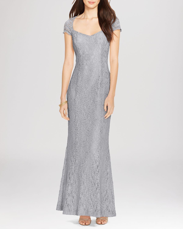 Lyst  Ralph Lauren Lauren Gown  Cap Sleeve Lace in Gray