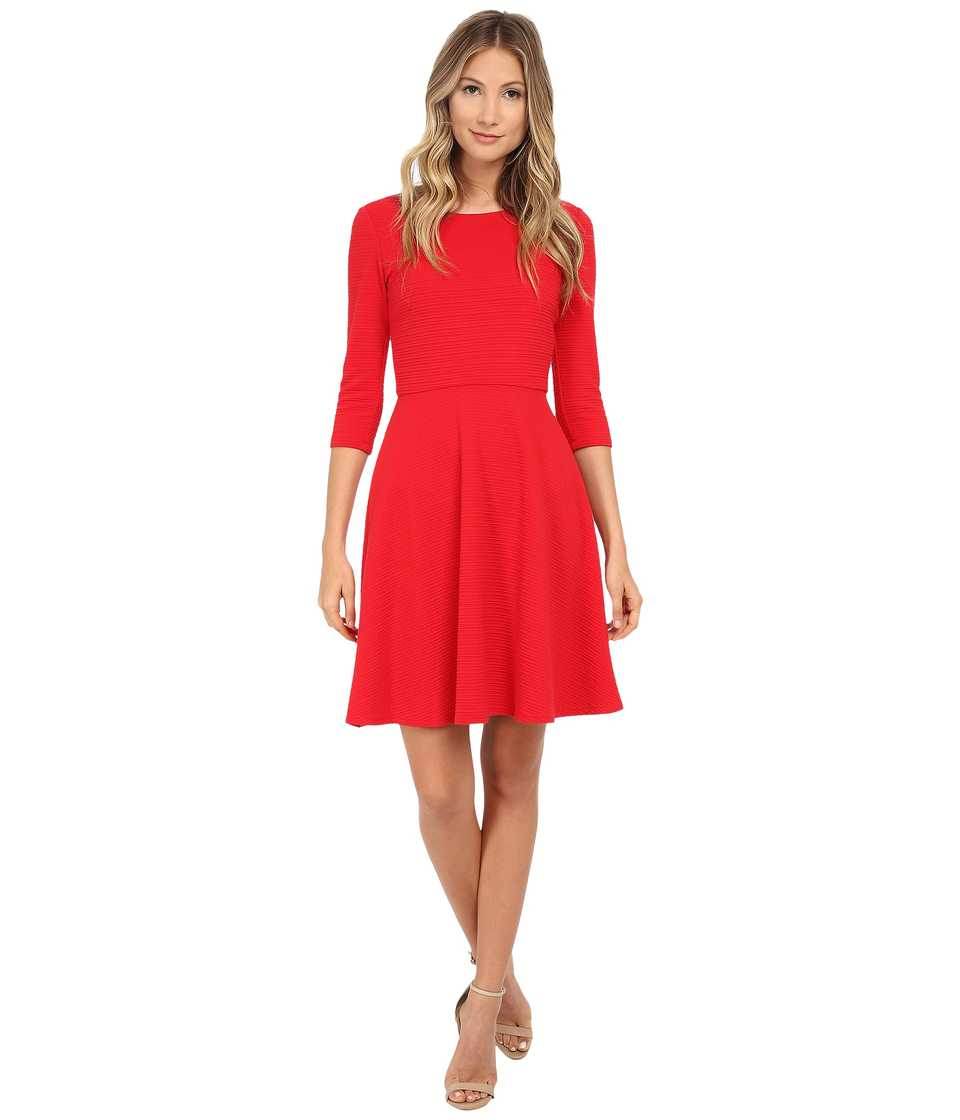 Lyst  Donna Morgan 34 Sleeve Wavy Knit Fit And Flare Dress in Red