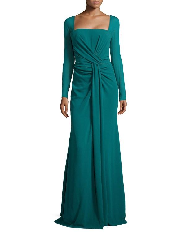 Escada Long-sleeve Silk-stretch Mermaid Gown In Green