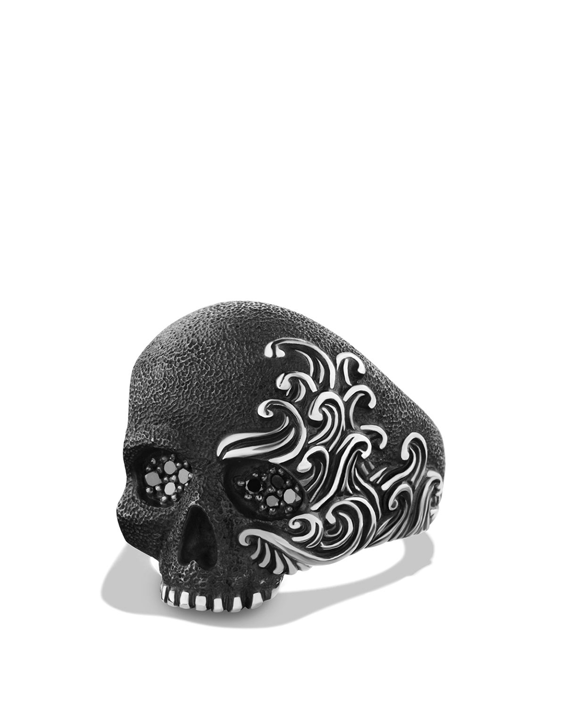 Lyst David Yurman Waves Large Skull Ring With Black