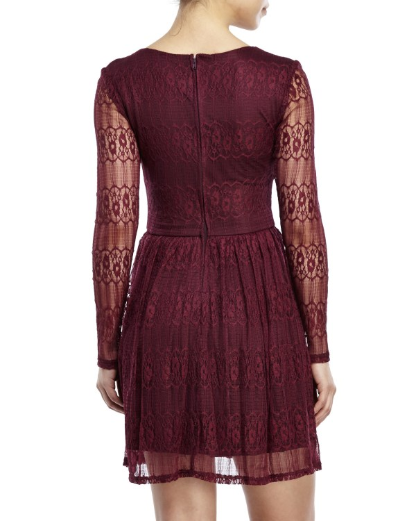 City Triangles Long Sleeve Lace Dress In Red Lyst