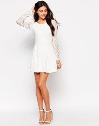 Wal-g Lace Skater Dress With Long Sleeves in White   Lyst