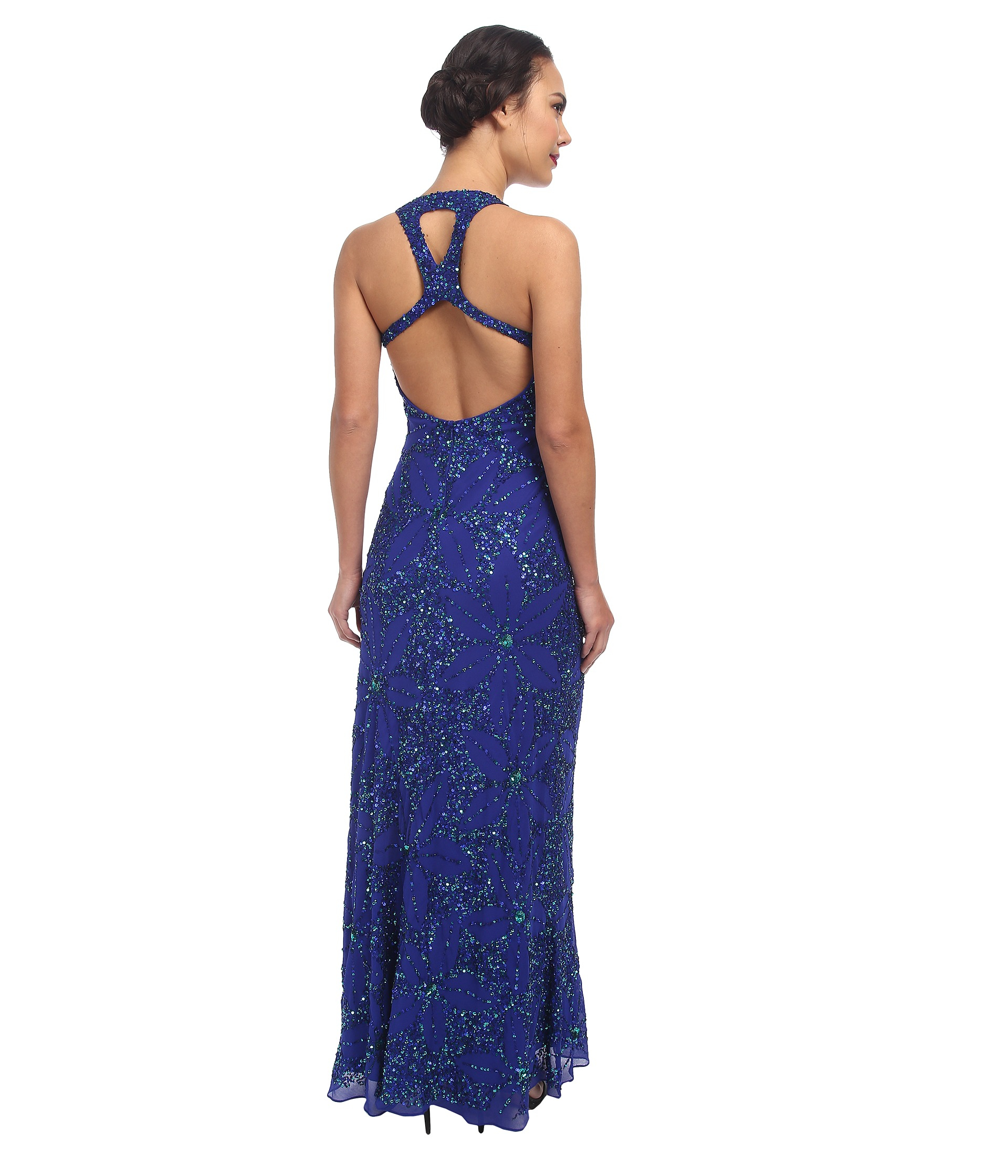 Lyst  Adrianna Papell Dream Girls Bead Prom Gown in Blue
