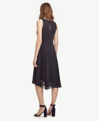Lyst - Ann taylor Petite Chiffon Midi Dress in Black