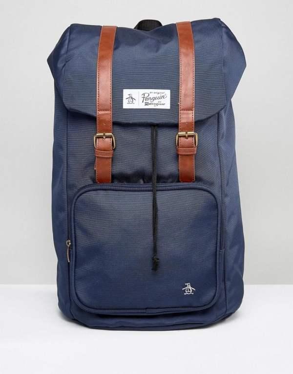Original Penguin Twin Strap Pearl Backpack In Blue Men
