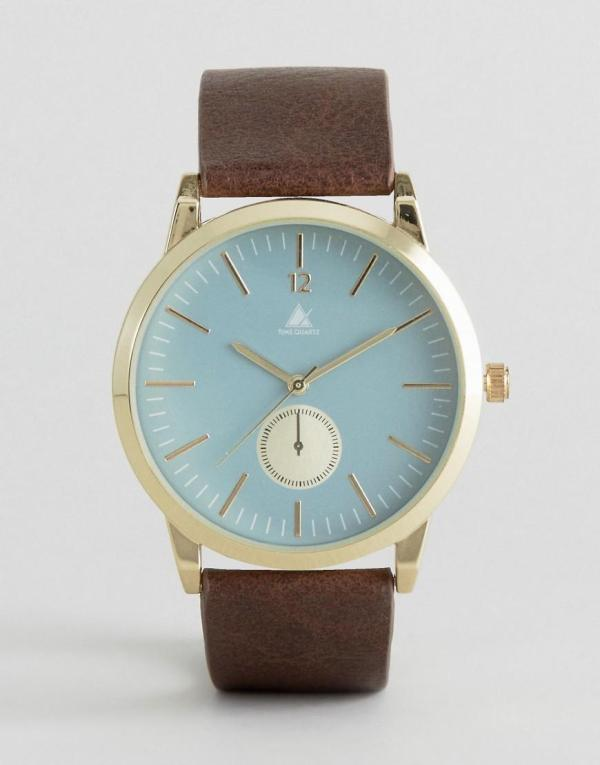 Asos Watch With Brown Strap And Blue Face In Men