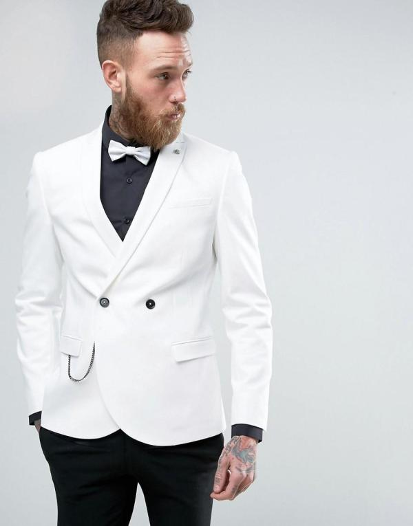 Noose And Monkey Double Breasted Superskinny Suit Jacket In White Men Lyst