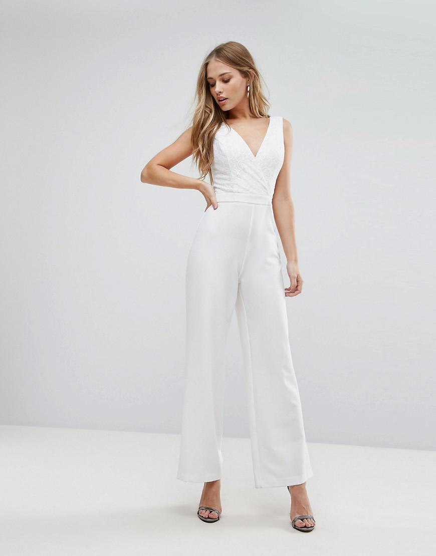 9304293a7fdf Lipsy Wrap Front Jumpsuit With Lace Detail In White Lyst. Boohoo Women S  Blue Striped Wrap Culotte Jumpsuit