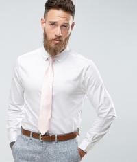 Asos Wedding Skinny Sateen Shirt In White With Pink Tie ...