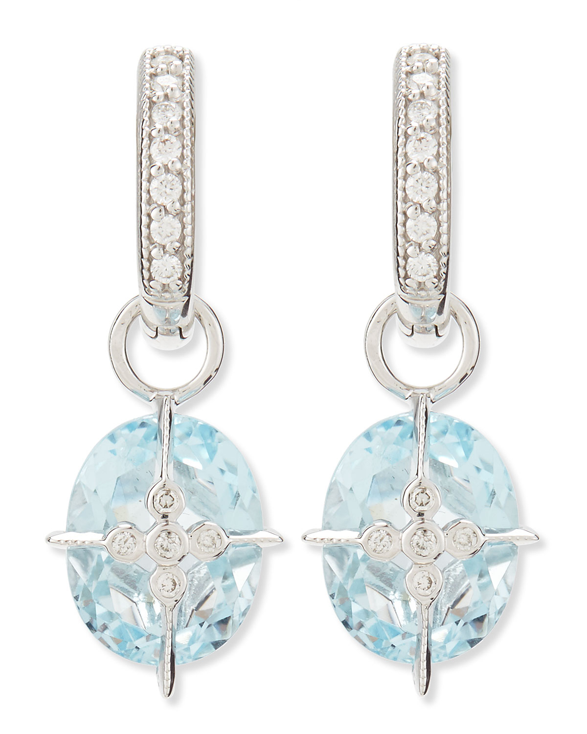 Jude frances Lacey Sky Blue Topaz Earring Charms in Blue