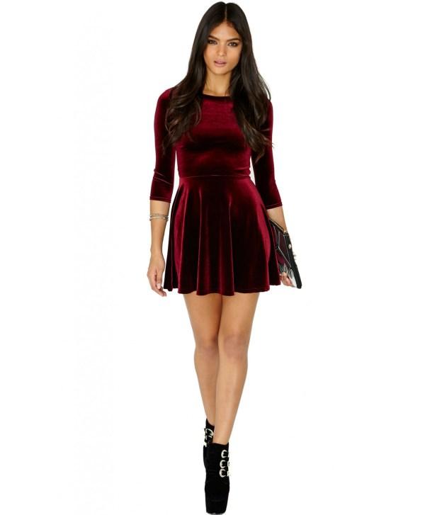 9c0c22e3adf1 Lyst - Missguided Ofelita Velvet Skater Dress In Burgundy