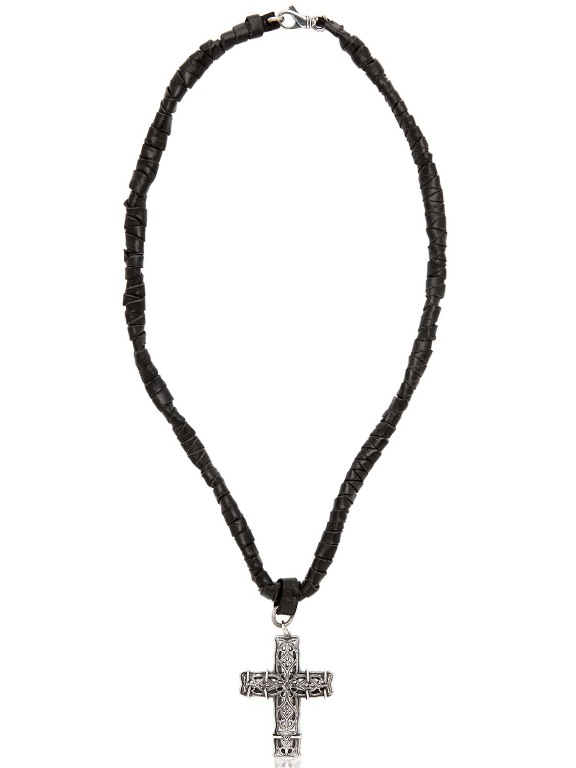 Emanuele Bicocchi Woven Leather & Silver Cross Necklace in