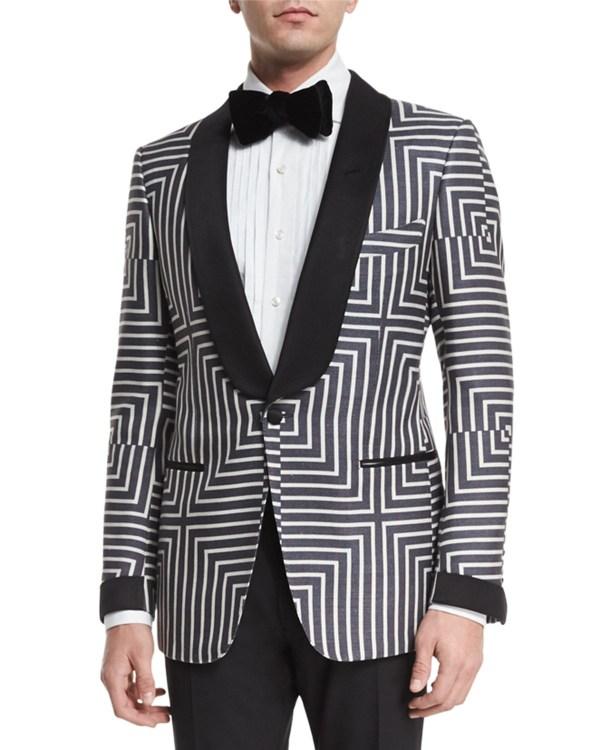 Tom Ford Buckley Base Geometric-print Suit Jacket In Black Men - Lyst