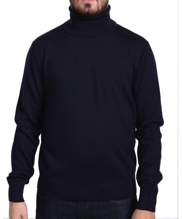 Valentino Men' Turtleneck Sweater Dark Navy Blue In