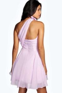 Boohoo Miriam Chiffon One Shoulder Prom Dress in Black - Lyst