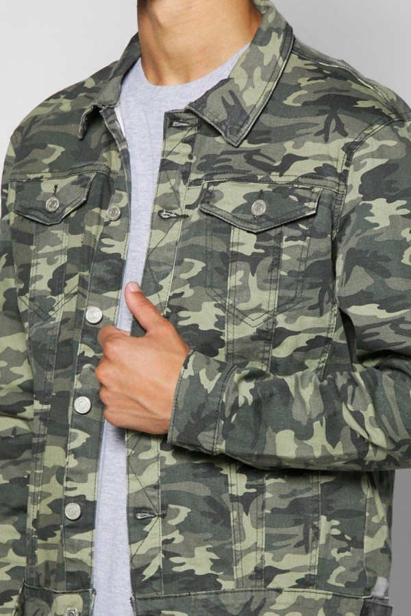 Boohoo Camo Denim Jacket Men - Lyst
