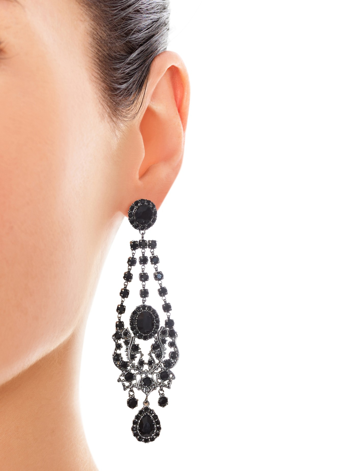 Lyst Givenchy Victorian Style Chandelier Earrings In Black