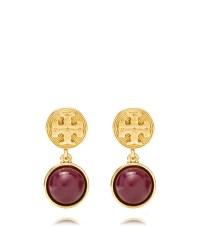 Tory Burch Livia Drop Earring in Gold (CABERNET/SHINY ...