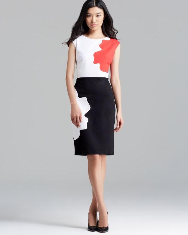 Escada Dress Cap Sleeve Donde Puzzle In Multicolor Multi