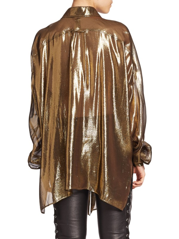 Lyst - Faith Connexion Oversized Lam Shirt In Metallic