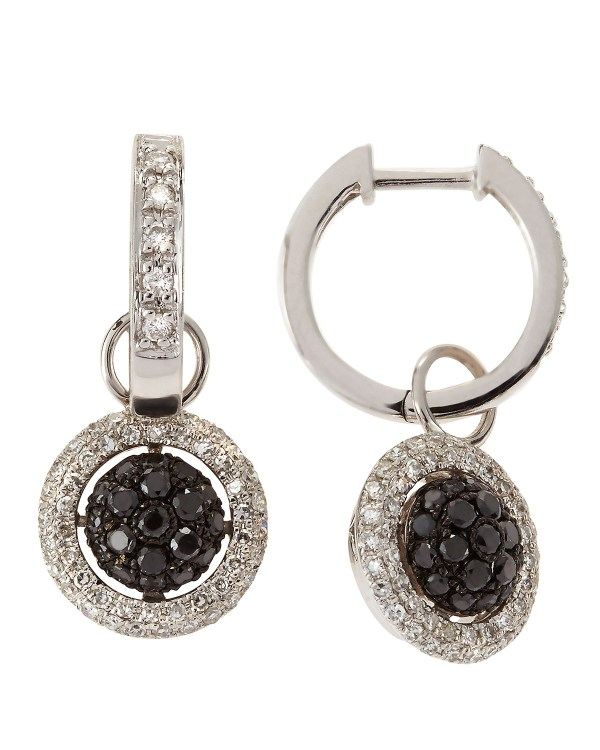 Kc Design 14k Diamond Pave Hoop Drop Earrings In