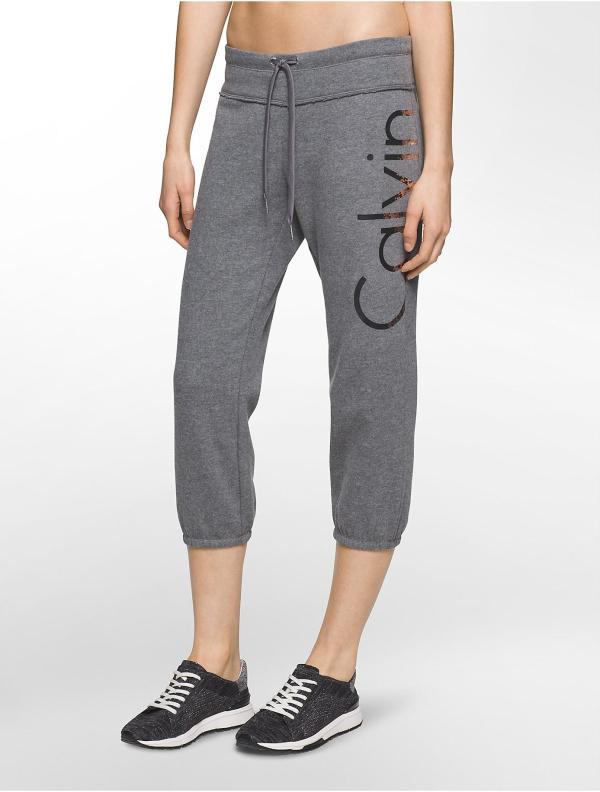 Lyst - Calvin Klein Performance Logo Cropped Sweatpants In Gray