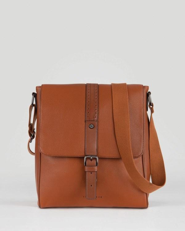 Ted Baker Longwin Leather Flight Bag In Brown Men Tan
