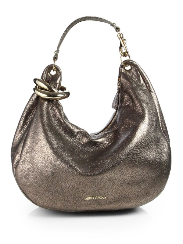 Jimmy Choo Solar Large Metal Bangle Metallic Hobo In