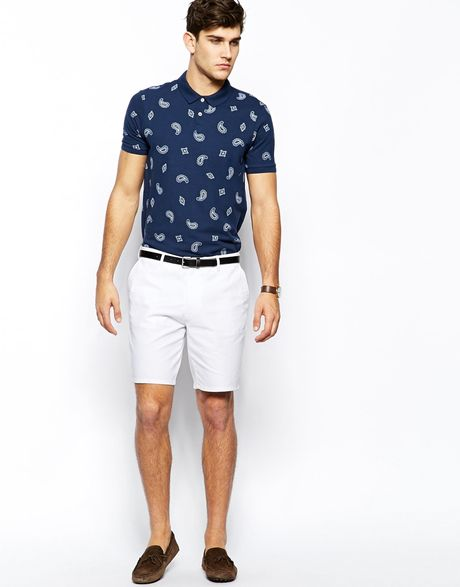 Asos Slim Fit Shorts In Washed Cotton in White for Men  Lyst