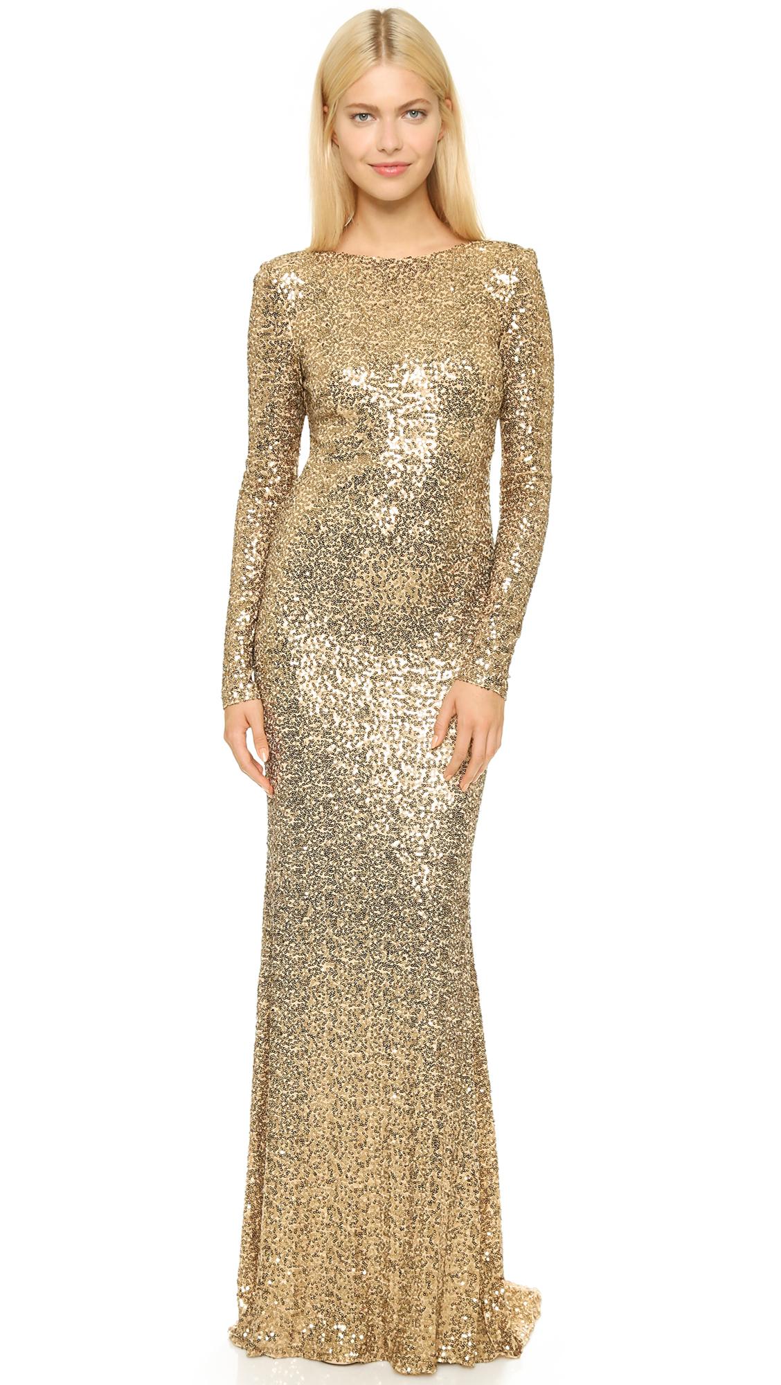 Lyst  Badgley Mischka Long Sleeve Sequin Gown  Gold in Metallic