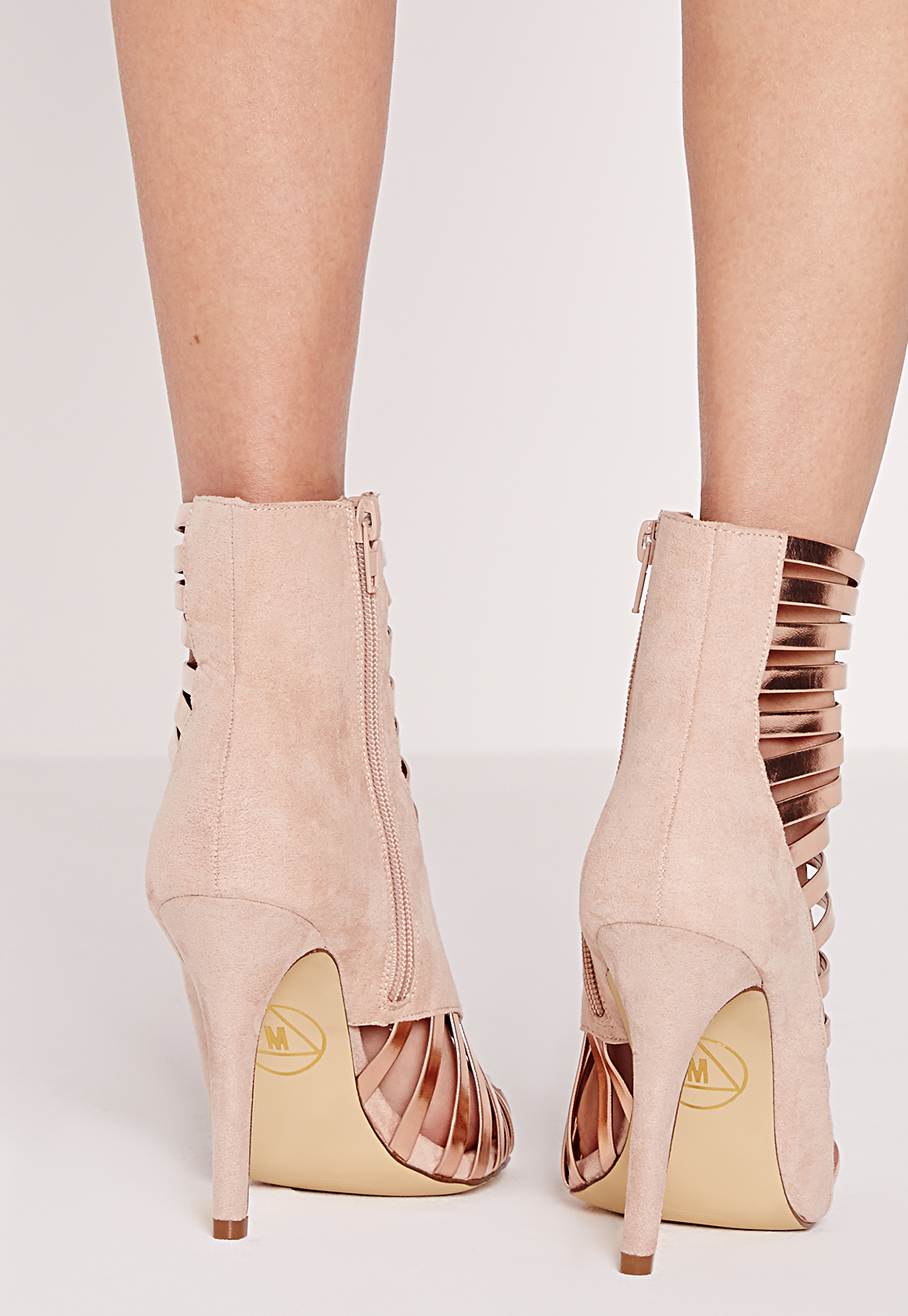 Missguided Asymmetric Strappy Heeled Sandals Gold In