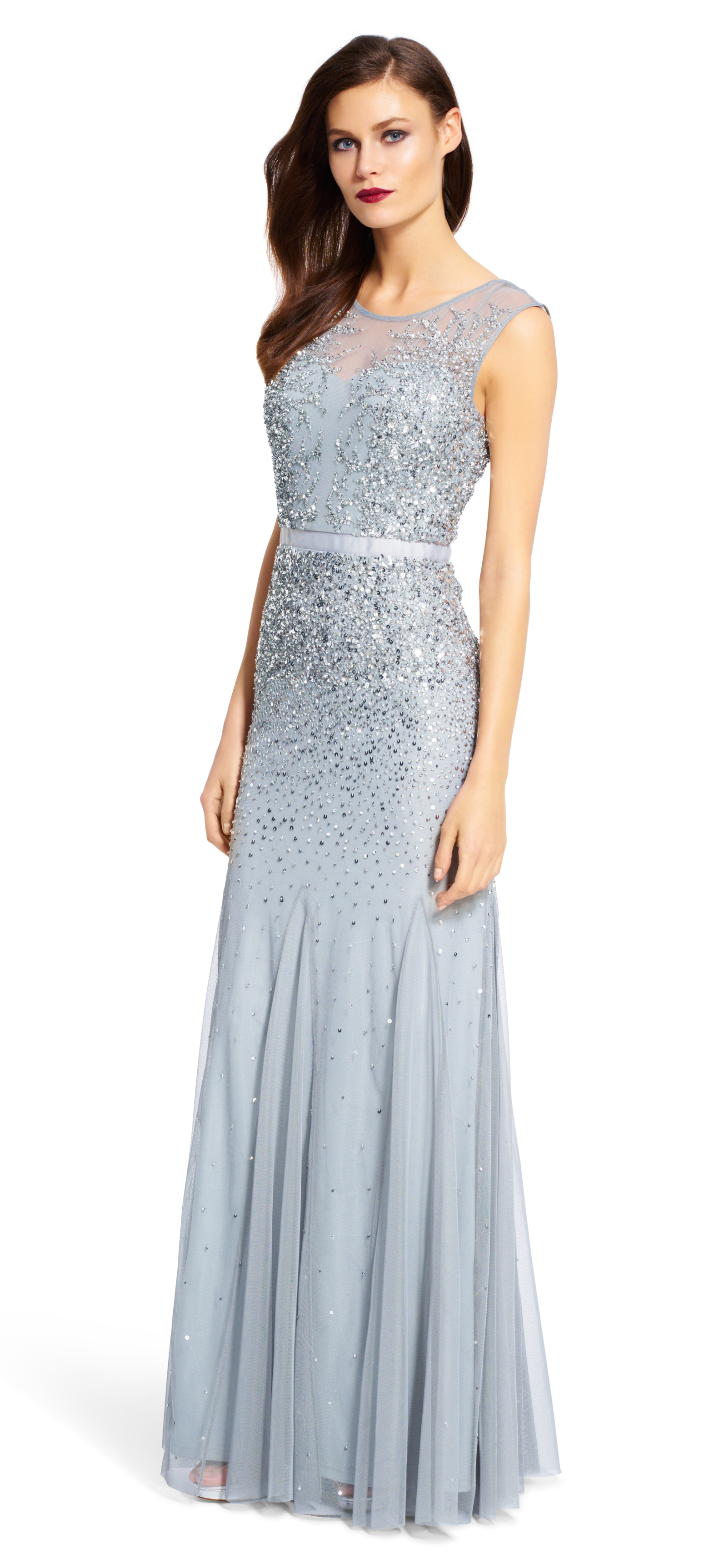 Lyst  Adrianna Papell Long Beaded Gown With Illusion Neck in Purple