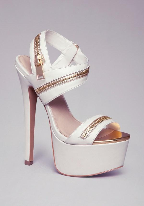 Bebe Yudelka Zipper Sandals In White Lyst