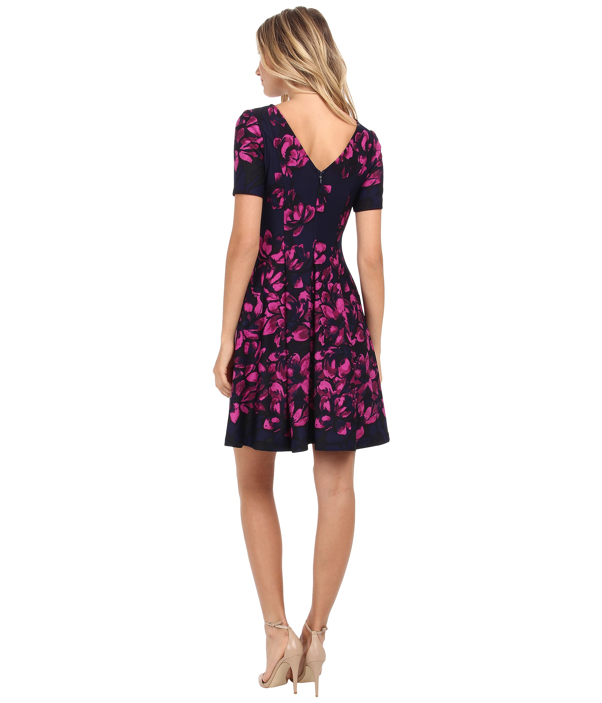 Lyst  Donna Morgan Short Sleeve Floral Printed Scuba Fit And Flare Dress in Blue