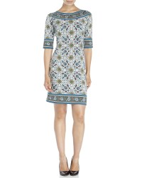 Max studio Printed Boatneck Shift Dress in Blue | Lyst