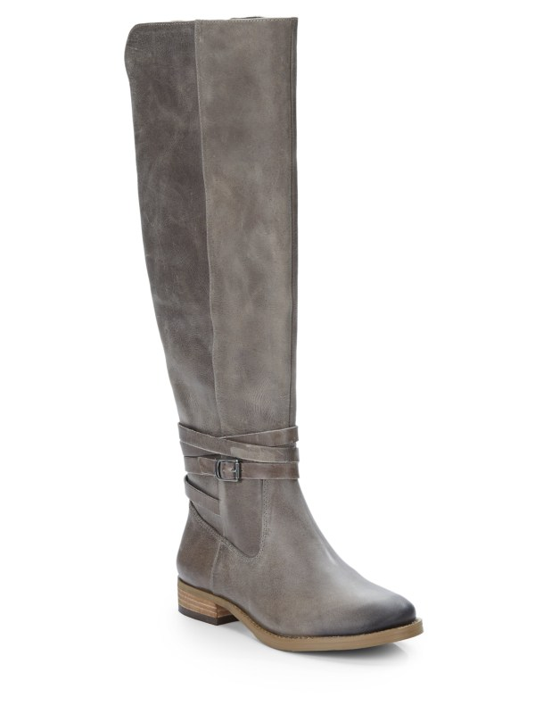 Lyst - Saks Avenue Leather Kneehigh Boots In Gray