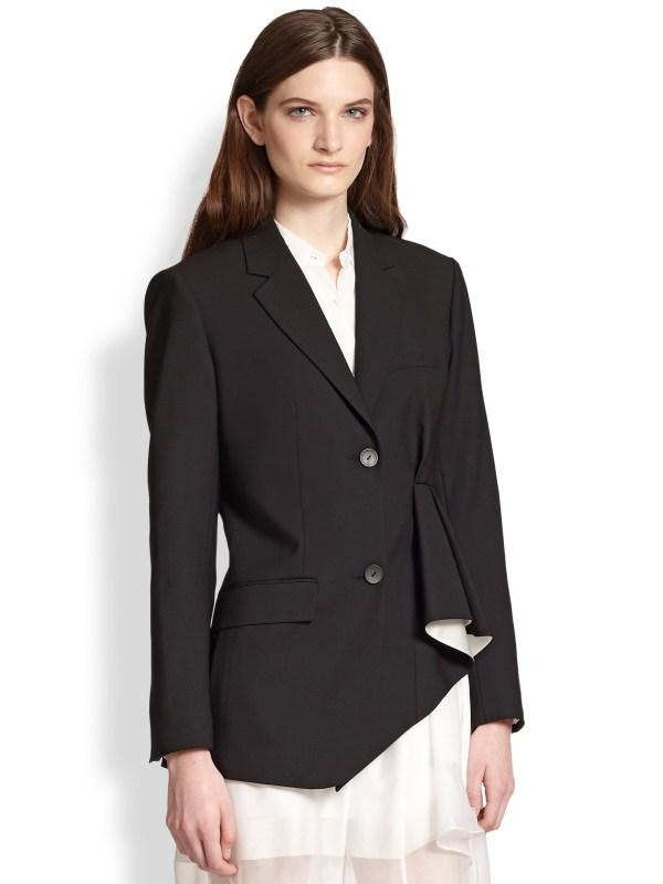 Theory Jester Asymmetrical Ruffled Blazer In Black