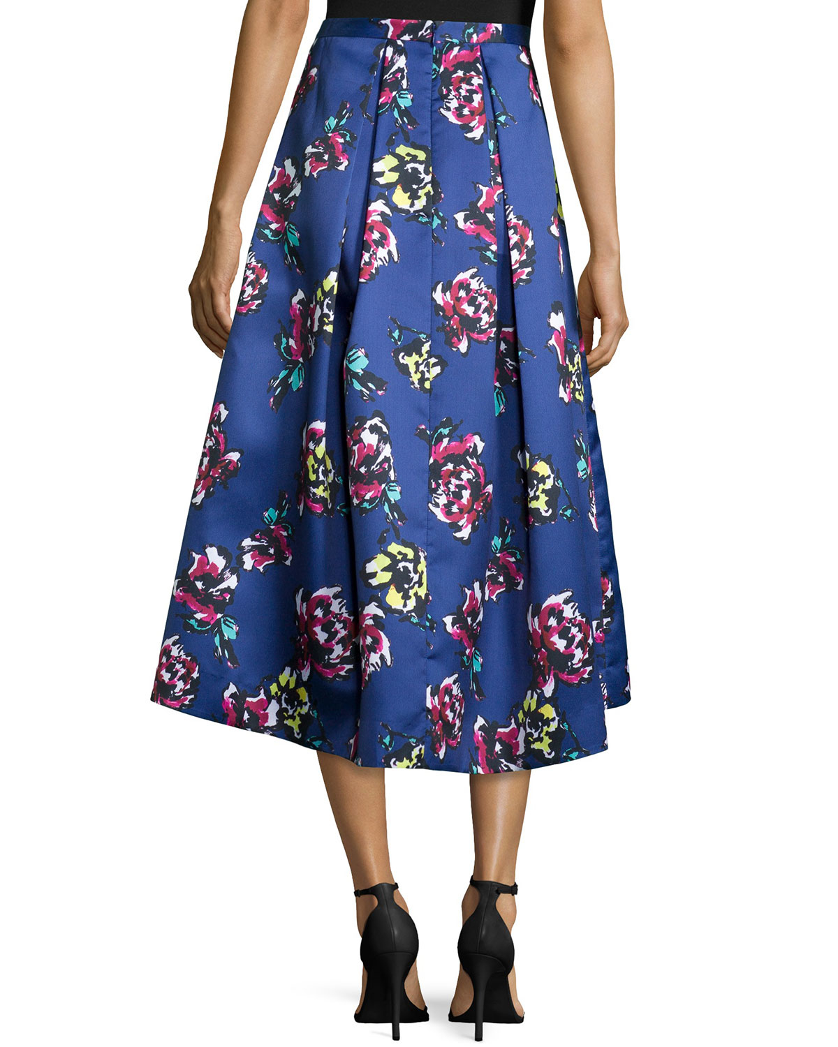 Lyst Phoebe Midi Floral Print High Low Skirt In Blue
