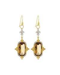 Jude frances 18k Citrine & Pave Double