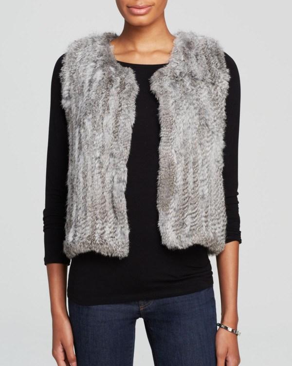 America Classic Fur Vest In Gray - Lyst