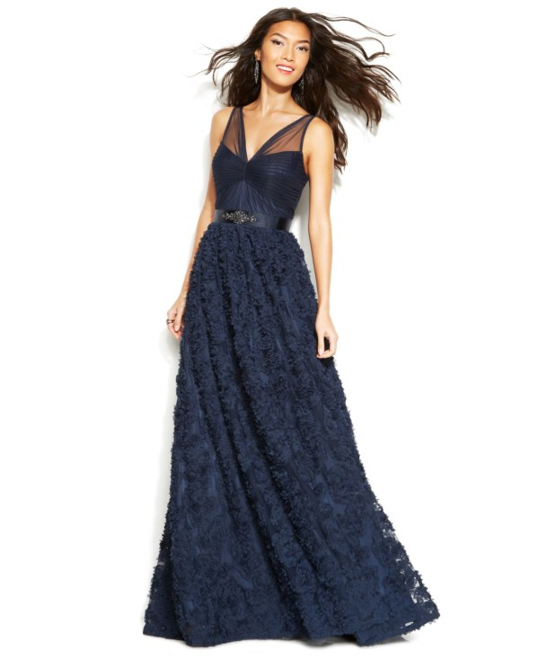 Adrianna Papell Floral Embroidered Illusion Gown In Blue