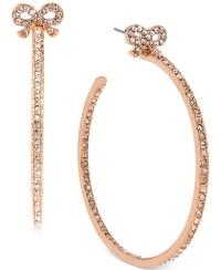 Betsey johnson Rose Gold-tone Crystal Bow Hoop Earrings in ...
