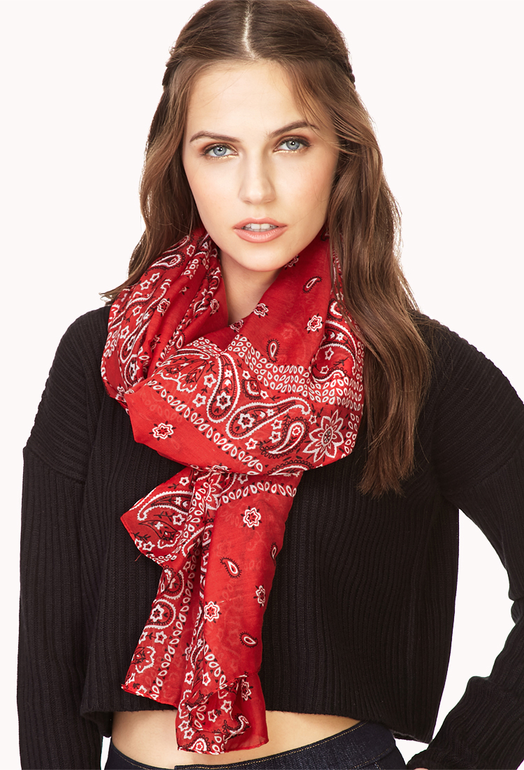 Forever 21 Forever Cool Bandana Scarf in Red