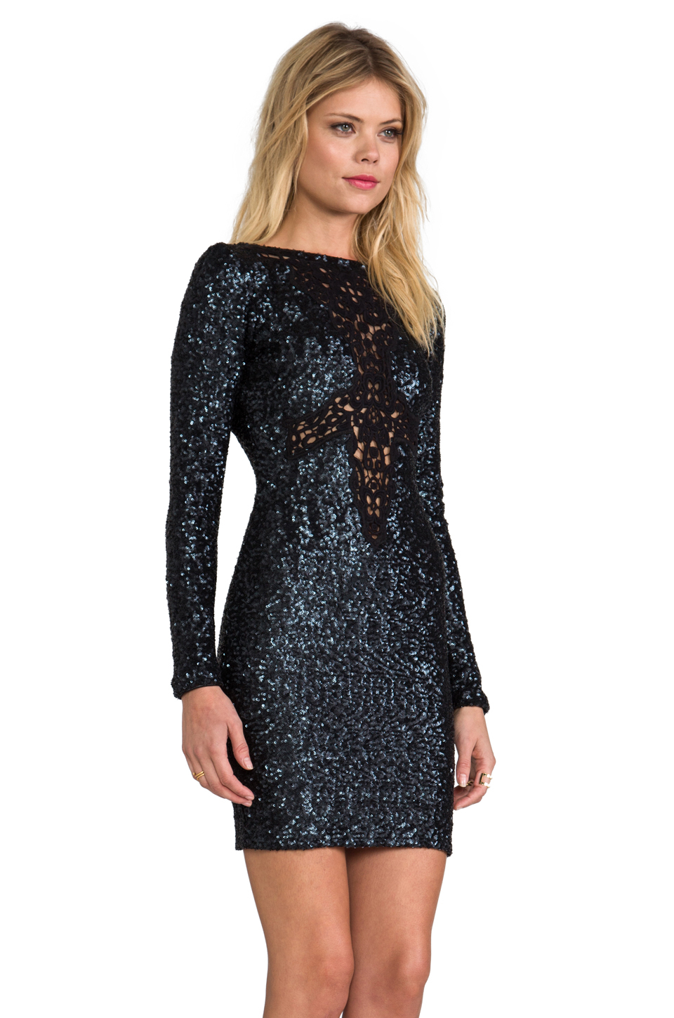 Lyst  Dress The Population Dani Long Sleeve Sequin Dress in Charcoal in Gray
