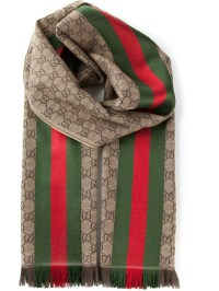 Gucci Monogram Scarf in Brown for Men | Lyst